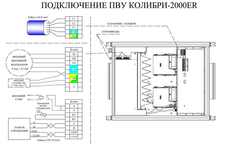 Принципиальная эл.схема вентиляционной установки Колибри 2000