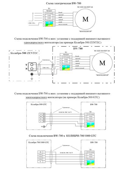 Принципиальная эл.схема Блокa вытяжного BW-700