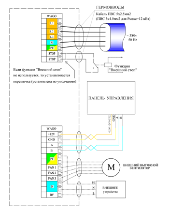 Схема подключения приточной установки Колибри 700 Zentec.