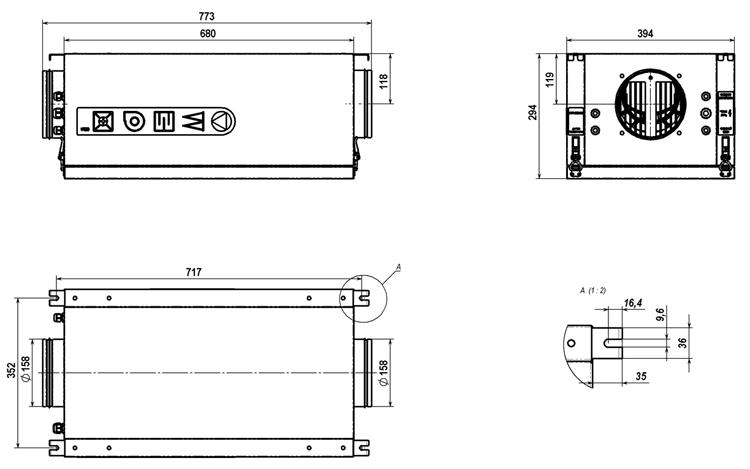 Чертёж приточной вентиляционной установки Колибри 500