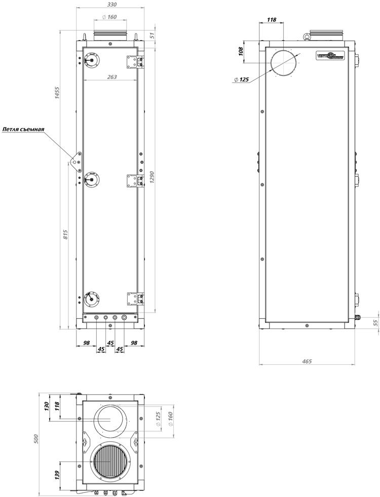 Габаритные размеры ПВУ - 350