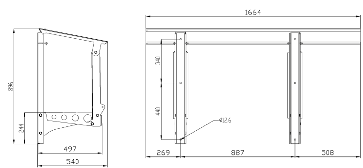 Габаритные размеры горизонтальной рамы