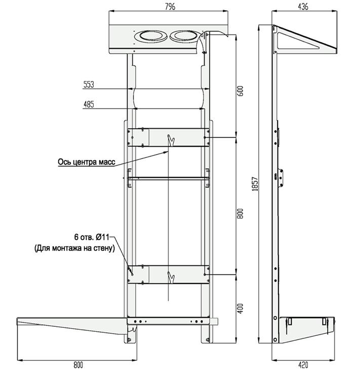 Габаритные размеры вертикальной рамы