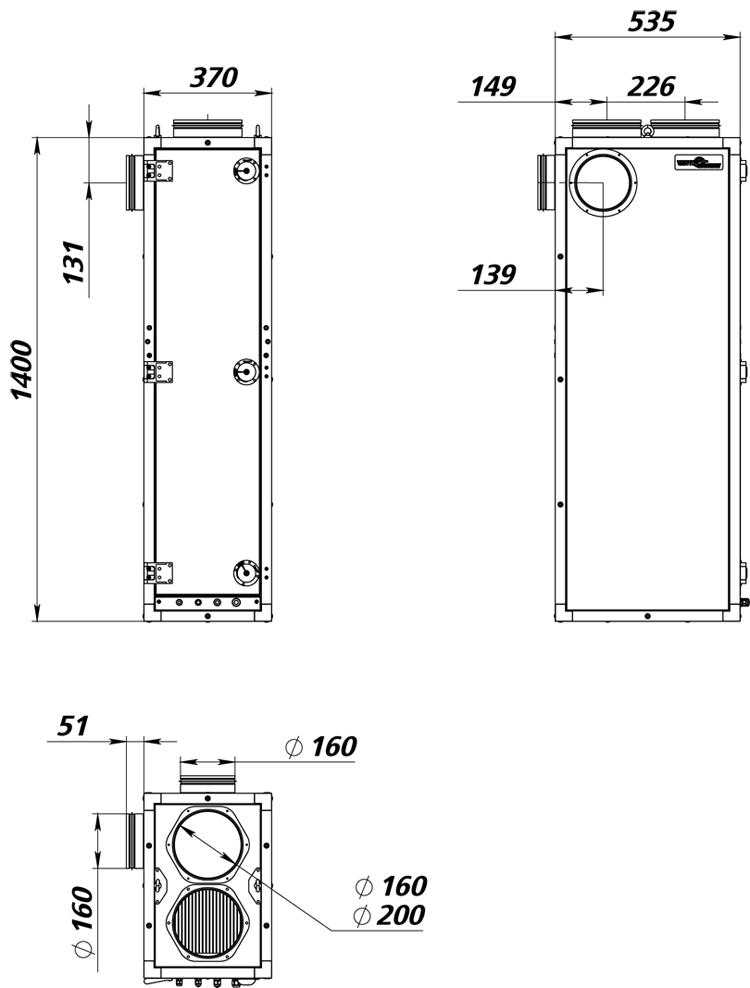 Габаритные размеры ПВУ - 500