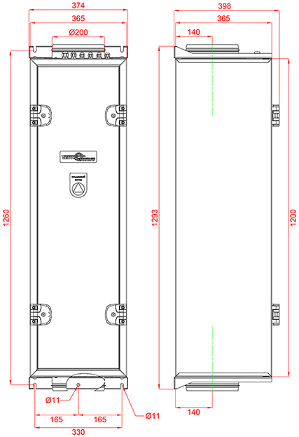 Габаритные размеры Колибри ФКО-500 EC